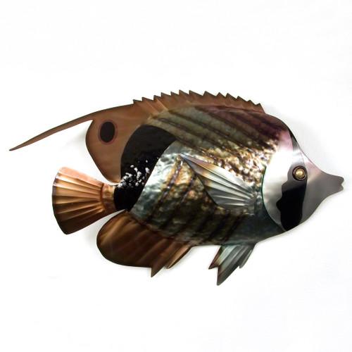 Striped Butterfly Fish Metal Wall Art