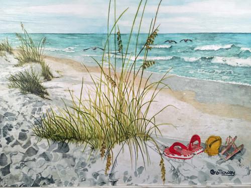 "Flip Flops on the Beach Painting 43.5"" x 32"""
