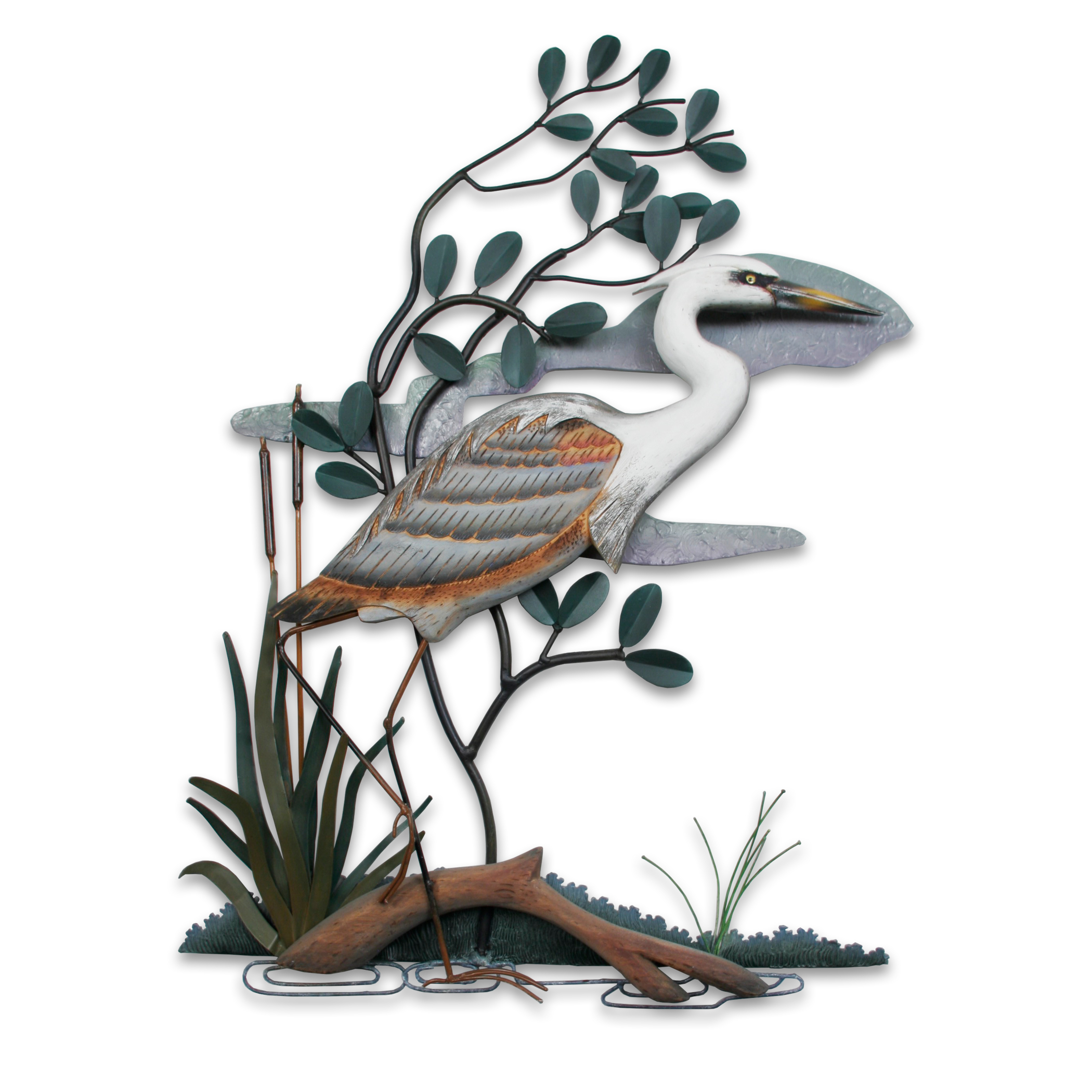 WHITE HERONS ALONG THE SHORE WALL SCULPTURE WALL SCULPTURES COASTAL DECOR