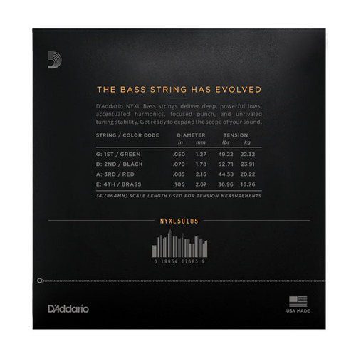 D'Addario NYXL50105 Set Long Scale Medium Bass Strings 50-105