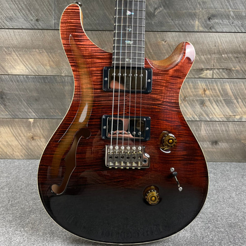 PRS Custom 24 Semi-Hollow Wood Library Artist Flame Maple Top Fire Red/Gray Black Fade 309973
