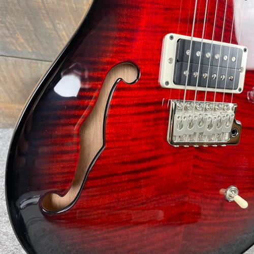PRS CE 24 Semi-Hollow Custom Color Natural Back - Fire Red Smokwrap Burst 323454