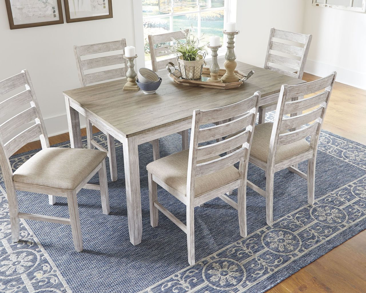 The Skempton White Light Brown Dining Room Table Set 7 Cn Available At Discount Furniture Center Serving South Hill And Farmville Va