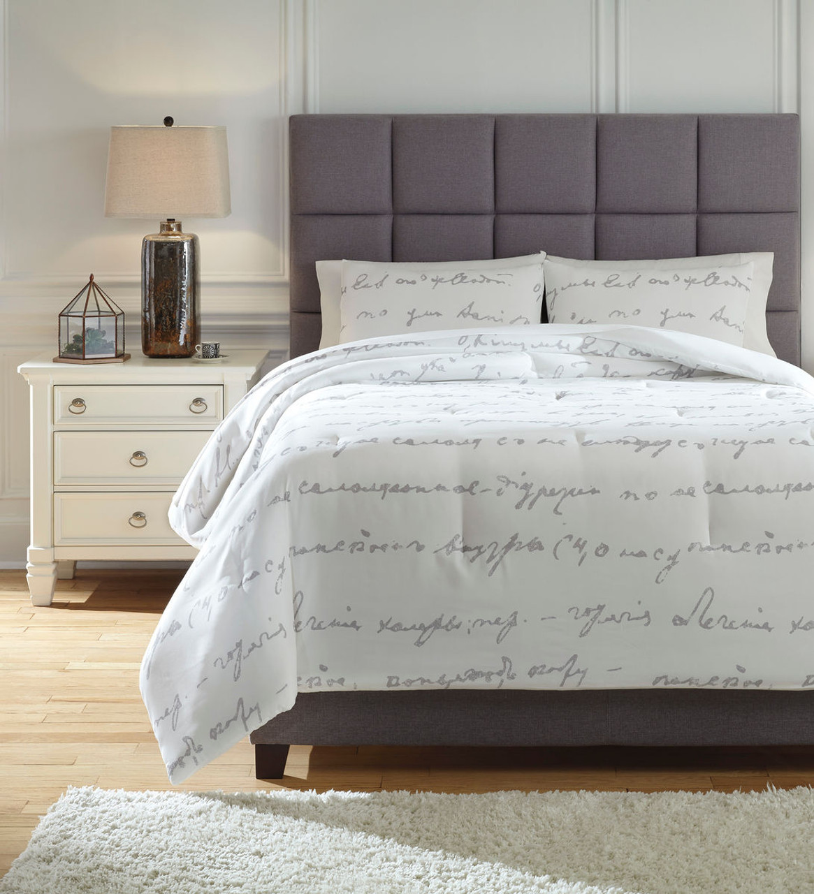 Picture of: The Adrianna White Gray Queen Comforter Set Available At Discount Furniture Center Serving South Hill And Farmville Va