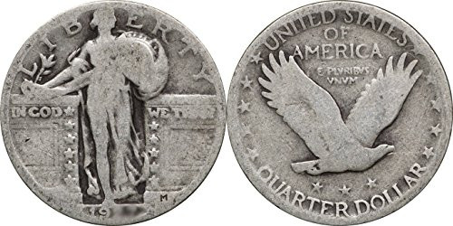 1920 - 1930 Standing Liberty Silver Quarter, 25c, Avg. Circ