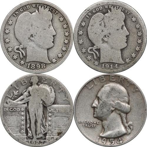 1892 - 1964 Silver Quarters, (2) Barber, (1) Standing Liberty & (1) Washington, $1 Face