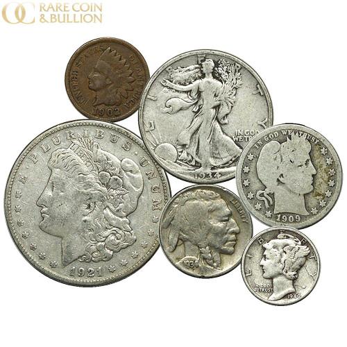1878-1945 U.S. Silver Coin Lot, Indian Head Cent - Morgan Silver Dollar, 6 Coin Lot