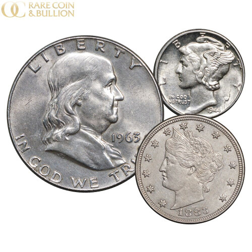 1883 No Cents Liberty V Nickel, Mercury Dime & Franklin Silver Half Dollar 3 Coin Set, AU About Uncirculated