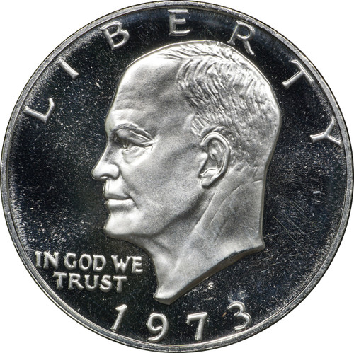 1973 S Eisenhower Proof Silver Dollar, $1 in Capsule