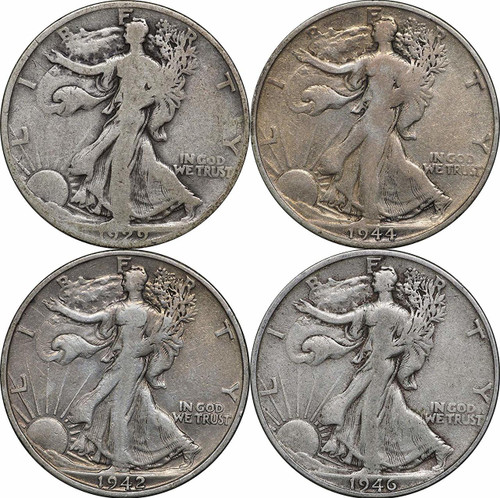 1916-1947 Walking Liberty Silver Half Dollars, 4 Coins, $2 Face Avg. Condition