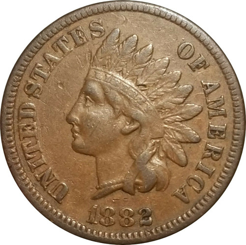 1882 Indian Cent, Very Fine, Attractive VF to XF