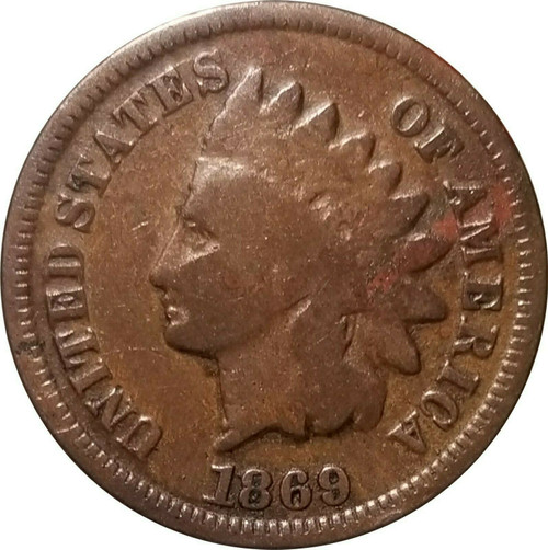 1869 Indian Cent, Very Good, VG