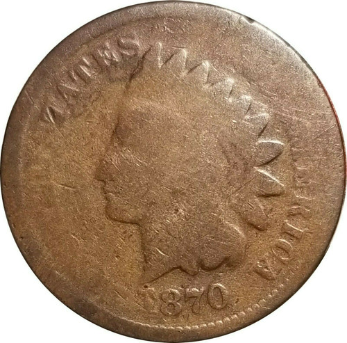 1870 Indian Cent, AG, Almost Good