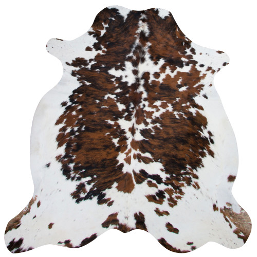 cowhide rug in dark brown and light brown mixed with white