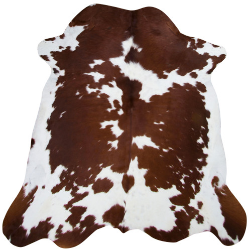 chestnut brown and white cow hide