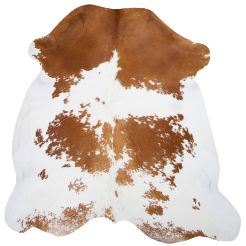cowhide in golden brown and white