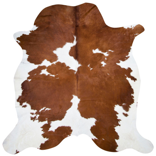 cow hide in cinnamon brown and bright white