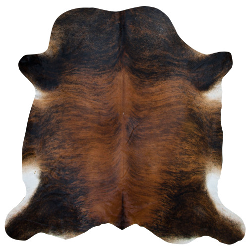 brindle cowhide in mocha and hickory tones