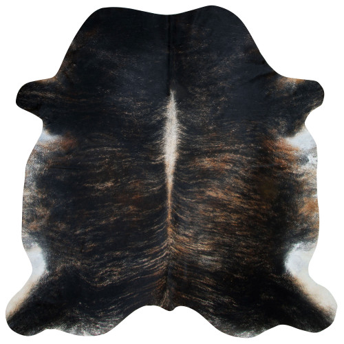cowhide rug with black and dark brown