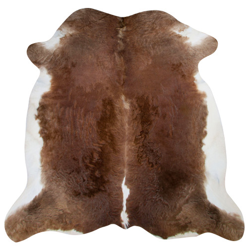 cow hide rug, caramel brown and cream