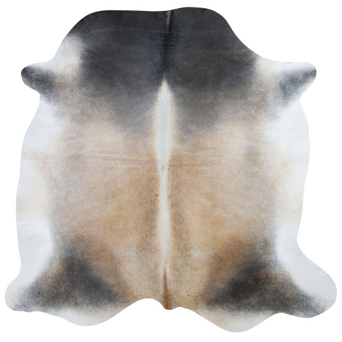 almond, black and cream cow hide rug