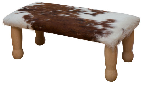 Brown and White Cowhide Footstool