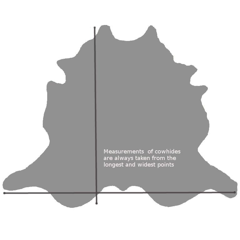 cowhide rug measurements