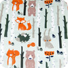 Forest Animals 100% cotton reversing to black polarfleece