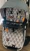 Peekaboo Grey cotton pram liner in Uppababy Rumble seat