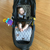 Peekaboo Grey Cotton pram liner set to fit Baby Jogger City Mini GT (harness strap covers optional)