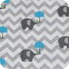 Chevron Grey & Blue Elephants 100% Cotton