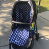Crosses Navy & White pram liner set to fit Uppababy  photographed in Cruz model