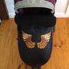 Golden Wings on Black Waterproof Footmuff (in Baby Jogger City Mini)