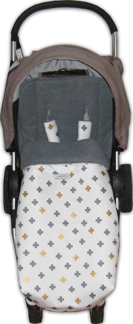 Crosses Gold & Grey Snuggle bag photographed in Steelcraft Agile