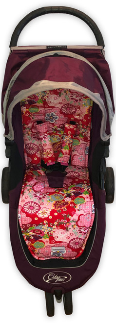Kimono Red Cotton Pram Liner to fit Baby Jogger