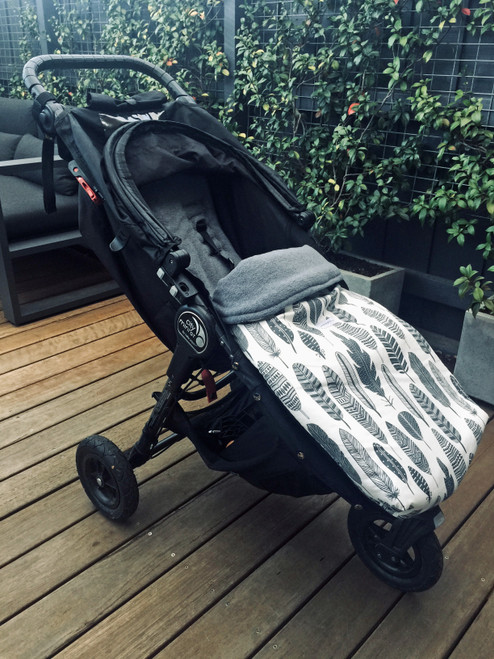 Grey Feathers Snuggle Bag to fit Baby Jogger City Mini GT