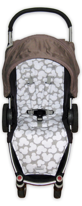 Mickey Grey cotton pram liner set to fit Steelcraft Agile