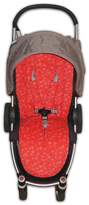 Floral Filigree Red universal fit cotton pram liner
