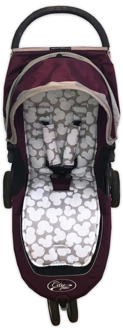 Mickey Cotton Pram Liner Set photographed in Baby Jogger City Mini