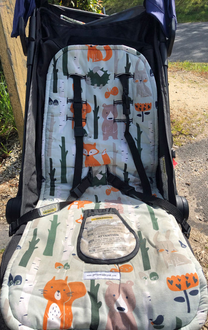 Forest Animals Cotton Pram Liner photographed in MB Nano