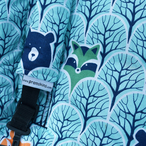 Peekaboo Mint Cotton Pram Liner to fit Mountain Buggy