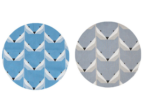 Geo Fox Blue & Grey Cotton to fit Mountain Buggy Duo Duet - set of 2 liners