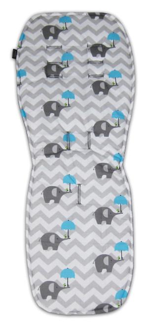 Chevron Grey & Blue Elephants Cotton Pram Liner for UPPABaby