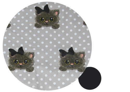 Little Kitty on Polka Dot Cotton Pram Liner for Baby Jogger