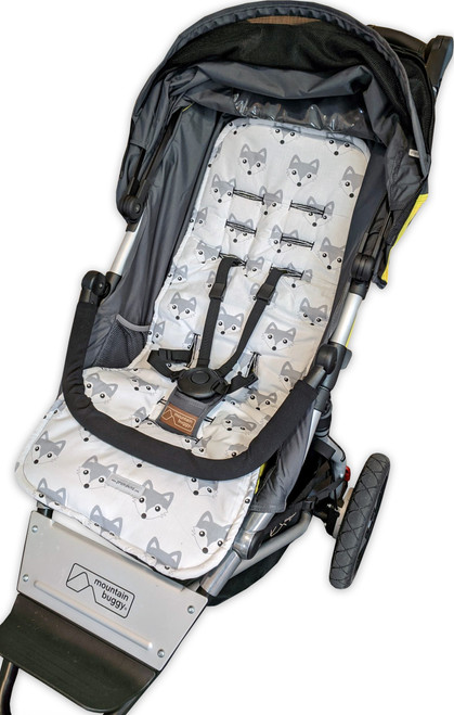 Fox Grey cotton pram liner to fit Mountain Buggy