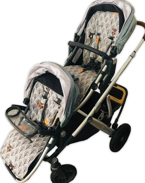 Peekaboo Grey cotton pram liner set for Uppababy Vista Main and Rumble seats