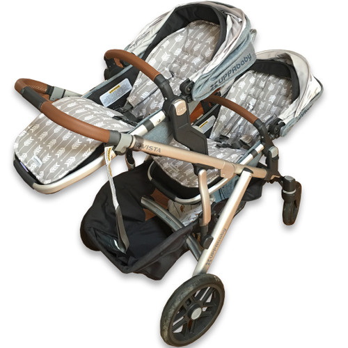 Arrows Grey & White Cotton Pram Liner to fit UPPAbaby (showing main and rumble seat set)