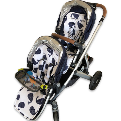 Whales Navy Main and Rumble seat liners in UPPAbaby Vista