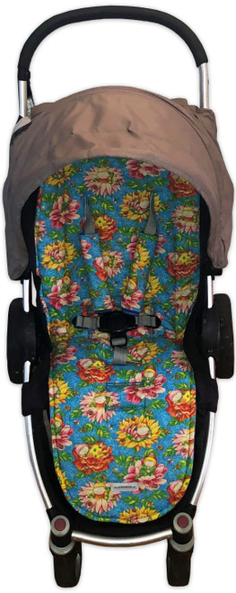 Giggles universal fit cotton pram liner set in Steelcraft Agile (harness strap covers optional)