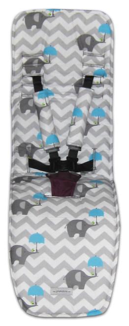 Chevron Grey & Blue Elephants Cotton Pram Liner to fit Baby Jogger City Mini GT